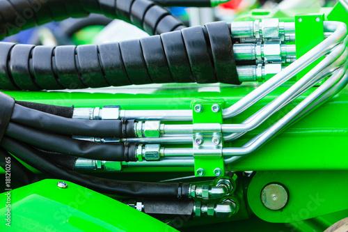 Pneumatic, hydraulic machinery made of steel closeup - 181210265