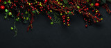 Christmas tree banches and red berries background - 181212822