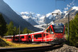 switzerland train at moteratsch glacier Bernina