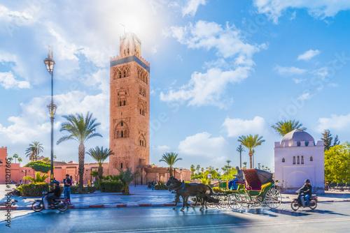 Papiers peints Maroc Koutoubia Mosque minaret located at medina quarter of Marrakesh, Morocco