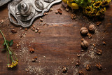 Creative food turkish cuisine background. Wooden texture. Tea and dessert concept - 181218028