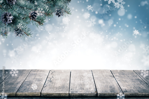 Christmas background with spruce branches and cones with snow flakes and copyspace for text. - 181218882