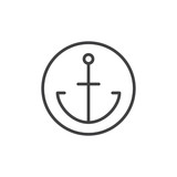 Anchor in a circle line icon, outline vector sign, linear style pictogram isolated on white. Symbol, logo illustration. Editable stroke