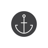 Anchor in a circle icon vector, filled flat sign, solid pictogram isolated on white. Symbol, logo illustration.