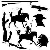 wild west theme black vector silhouette set - cowboy, native american chief, eagle and cactus design collection - 181219868