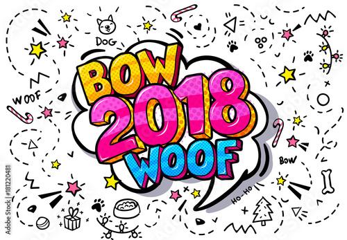 Fotobehang Pop Art 2018 word bubble.