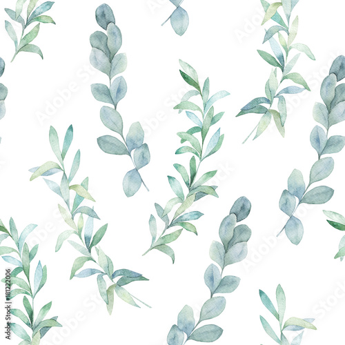 Watercolor seamless pattern witn eucalyptus branch. Hand drawn illustration. Floral background - 181222006