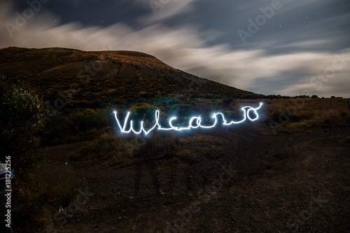 Fotobehang Zwart light painting