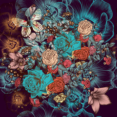 Beautiful pattern with hand drawn flowers in vintage style