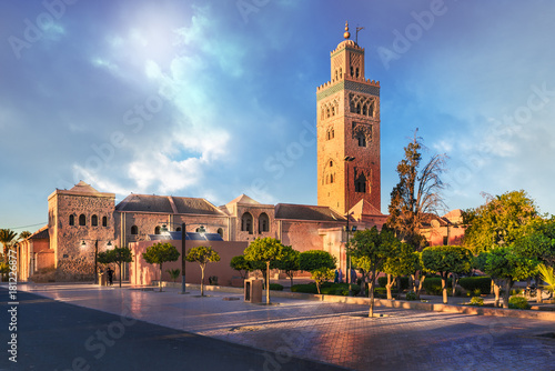 Papiers peints Maroc Koutoubia Mosque minaret located at medina quarter of Marrakesh, Morocco