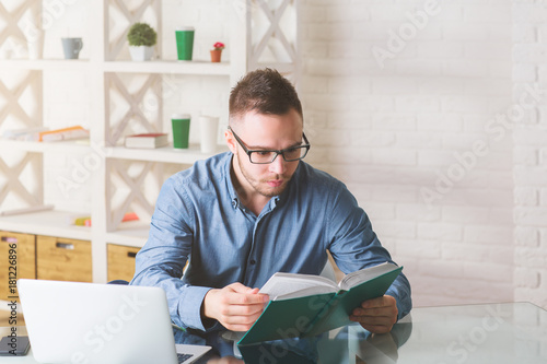 White guy working on project