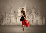 Shopping girl with bags in drawn city - 181235299