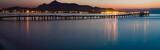 Panorama of sunset or sunrise on the calm sea