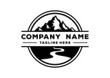 Black Mountain Nature with River Circle Vintage Company Logo Stamp - 181244057