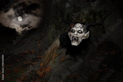 Devil mask in full moon night Poster