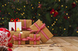 Christmas gifts and ornament on table, lights background