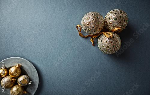 Vintage Christmas Ornaments on Gray Background; flat lay arrangement
