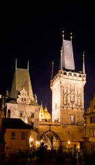 Historical center at night,  Prague, Czech Republic