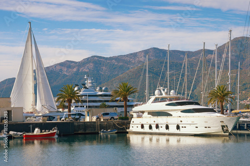 Staande foto Stockholm View of luxury yacht marina in the Adriatic - Porto Montenegro . Bay of Kotor, Tivat, Montenegro