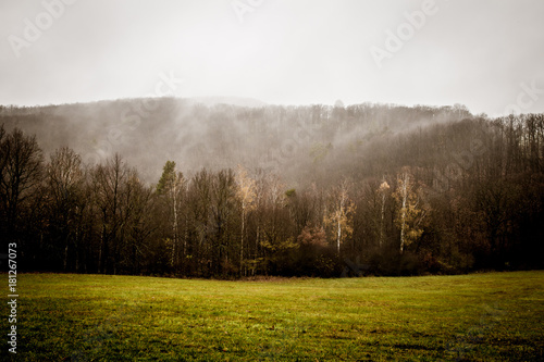 Plexiglas Chocoladebruin Autumn landscape in Bohemia