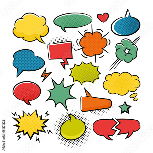 Fotobehang Pop Art Comic speech bubbles pop art set