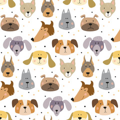 Seamless pattern with cartoon dogs on the white background.