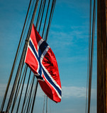 Norwegian Flag Flying from the rigging of a tall ship. - 181281885