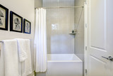White and grey bathroom interior with a shower - 181283423