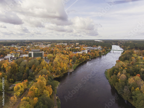 Fotobehang Landschappen Aerial view over resort city Druskininkai in Lithuania, during Autumn season.