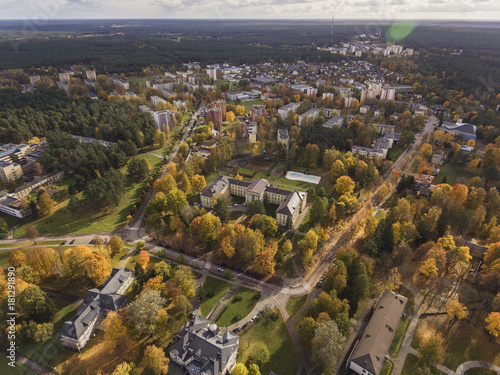 Poster Aerial view over resort city Druskininkai in Lithuania, during Autumn season.