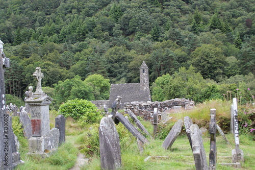 Poster Khaki ancient tombstones and church in Glendalough Ireland