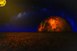 another world / A photo of a alien of another world with planets and a large star in the sky.