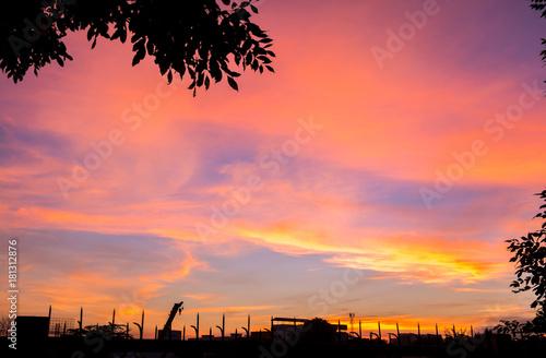 Aluminium Koraal Sky light evening sun