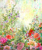 Abstract colorful flowers watercolor painting. Spring multicolored in .nature - 181313277