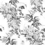 Watercolor painting of leaf and flowers, seamless pattern on white background - 181313285