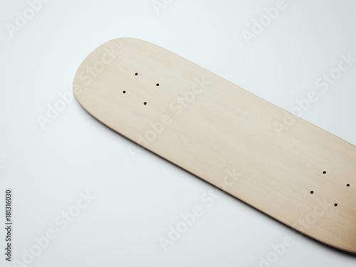 Blank wooden skateboard deck. 3d rendering