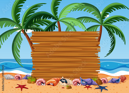 Poster Blauw Wooden board with sea animals and ocean in background