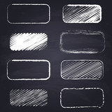 Chalk drawn rectangle with rounded corners. Geometric figures on chalkboard background. - 181317818