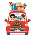 Christmas Decoration Car loads gift boxes - Cartoon family