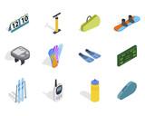 Sport equipment icon set, isometric style