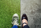 Life Balance concept for Work and Travel present in Top view position by half of Business Working Woman and Sneaker Shoes - 181319823