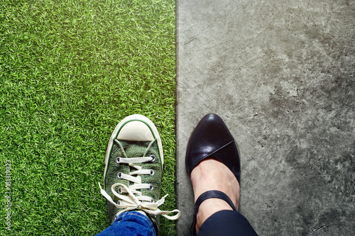 Foto Murales Life Balance concept for Work and Travel present in Top view position by half of Business Working Woman and Sneaker Shoes