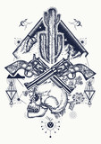 Wild west art. Human skull, mountains, crossed guns, cactus tattoo. Symbol of the wild west, robber, crime Texas t-shirt design - 181320889