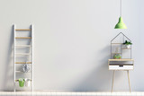 modern interior with rack, plant and lamp. wall mock up, 3d illustration - 181322262