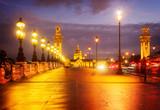 Alexandre III Bridge at violet twilights, Paris, France, retro toned