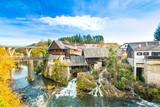Village of Rastoke near Slunj in Croatia, old water mills on waterfalls of Korana river, beautiful countryside landscape  - 181325430