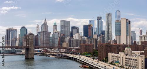 Lower Manhattan Skyline and Brooklyn Bridge Panorama, NYC, USA