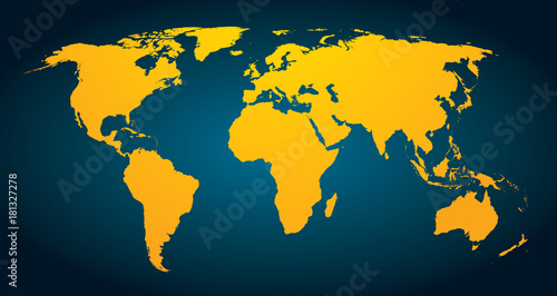 Fotobehang Wereldkaarten World Map stylisée