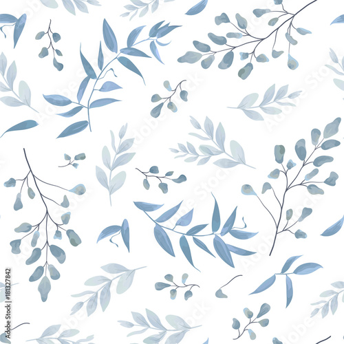 Seamless pattern, background, texture print with light watercolor hand drawn blue color dusty leaves, fern greenery forest herbs, plants. Tender, elegant textile fabric, wrapping paper backdrop layout - 181327842
