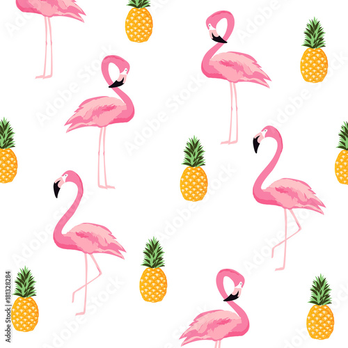 Fototapeta Pineapple and flamingo isolated seamless pattern background. Cute poster design. Wallpaper, invitation card, textile print vector illustration design